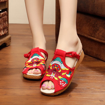 US Size 5-10 Women Embroidery Floral National Wind Chinese Knot Buckle Vintage Flat Slipper Shoes