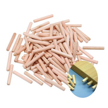 Drillpro 100pcs 6/8/10mm Round Wood Tenon Wooden Dowel for Woodworking