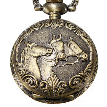 DEFFRUN Bronze 3 Horse Engrave Quartz Pocket Watch Necklace