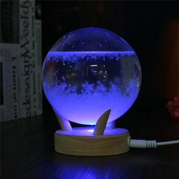 Weather Forecast Crystal Rainstorm Glass Colorful Luminous Wishing Ball For Home Office Decorations