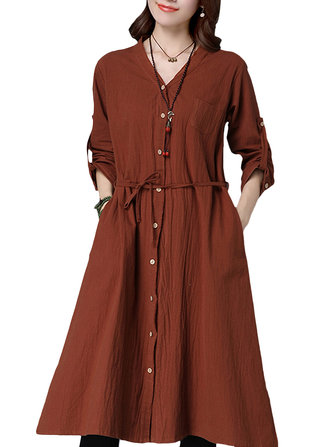 Vintage Women Solid Long Sleeve Waist Loose Blouse Dress