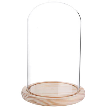 Glass Display Dome With Wooden Base Dustproof DIY Flower Vases Cloche Bell Jar Room Decorations