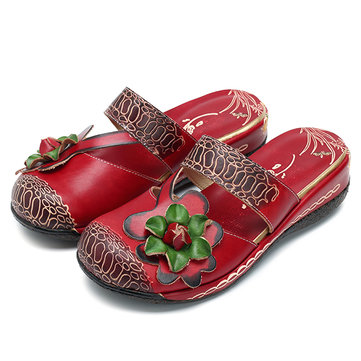 Socofy Handmade Slippers Floral Retro Sandals