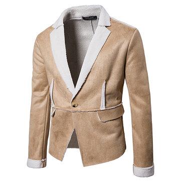 Chaqueta de gamuza de color sólido gruesa cálida Invierno solapa de la chaqueta de gamuza de color sólido