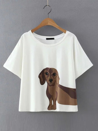 Women Dog Printed T-shirt