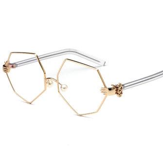 แฟชั่นผู้หญิงแว่นสายโลหิตเงินเหลี่ยมแว่นตาเหล้าองุ่นเหล้าองุ่นรูปเหล้าองุ่นใสสะอาด เล