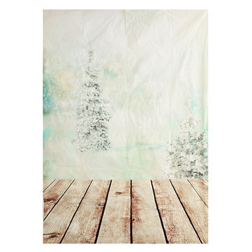 5X7ft Christmas Tree Wood Floor Vinyl Photography Studio Backdrop Photo Background