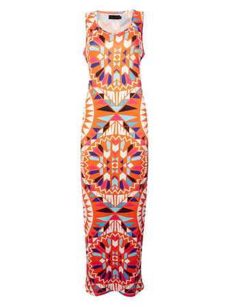 Bohemian Geometric Printed Sleeveless Sheath Maxi Dress For Women