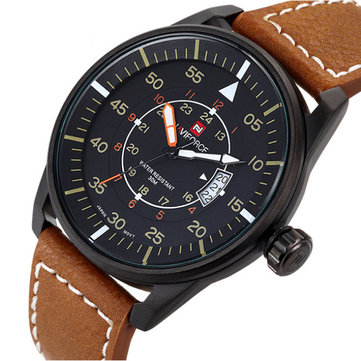 Naviforce 9044 Military Style Date PU Leather Quartz Men Wrist Watch