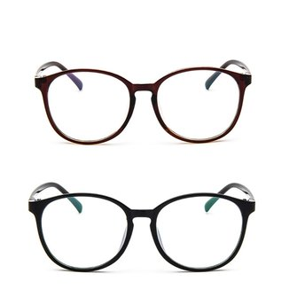 Unisex Eyeglasses Clear Plain Lens Large Oval Plastic Frame Glasses