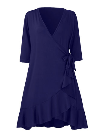 Ruffles Slim Fit Pure Color V Neck Elastic Women A-Line Midi Dress