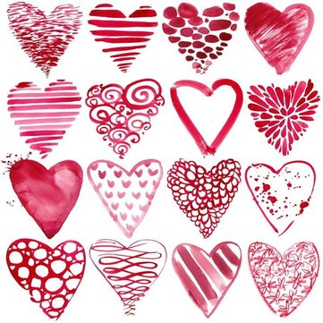 5x7ft Valentine's Day Red Love Heart Photography Background Studio Backdrop Prop