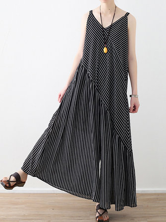 Women Striped Sleeveless V Neck Wide Leg Jumpsuits