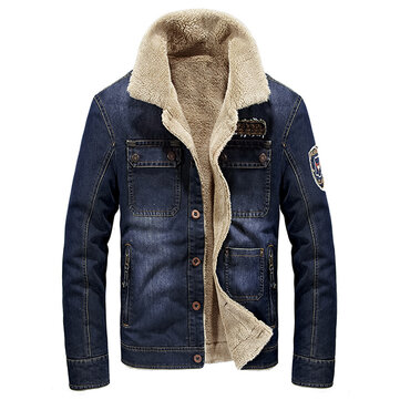 Mens Fleece Turn-down Denim Winter Jacket Multi Pocket Solid Color Casual Coat