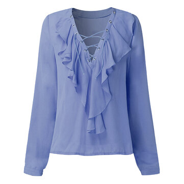 Sexy Women Ruffles V-Neck Lace Up Long Sleeve Solid Color Blouse