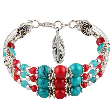 Bohemian Tibetan Silver Leaf Pendant Ethnic Multicolor Beads Women Bracelet Bangle