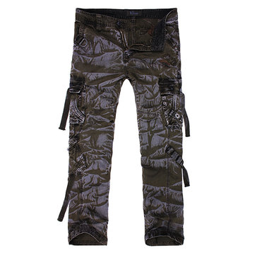 Mens Comfortable Multi Pockets Cotton Camo Cargo Pants