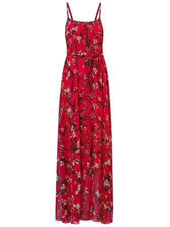 Women Summer Chiffon Spaghetti Strap Printed Loose Maxi Dress