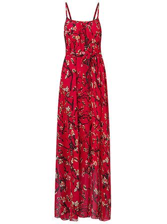 Gracila Women Summer Chiffon Spaghetti Strap Printed Loose Maxi Dresses