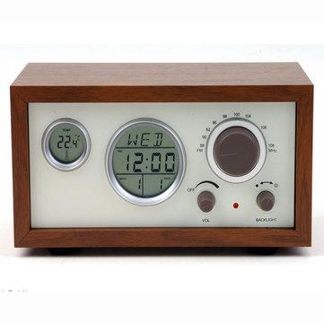 SY-601 Retro Design Radio FM numérique compacte en bois avec LED Réveil d'affichage de la température du temps