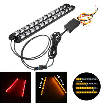 12V Day Running Light Flowing Water Flash LED Strip DRL Turn Lights Red Amber