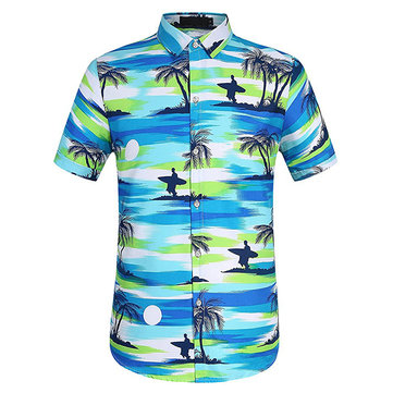 TWO-SIDED Holiday Hawaiian Coconut Tree Printing Beach Shirt