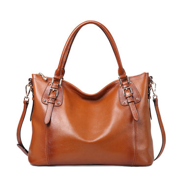 Women Genuine Leather Leisure Tote Bag Handbag Shoulder Bag Crossbody Bag