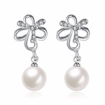 INALIS Pearl Pendent Butterfly Rhinestone Platinum Earrings