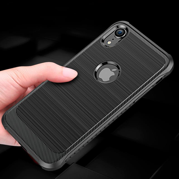 Bakeey Carbon Fiber Brushed Finish Soft TPU Protective Case For iPhone XR