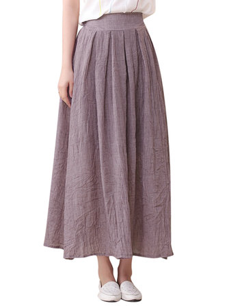 Women Elastic Waist Pure Color Linen Pleated Skirts