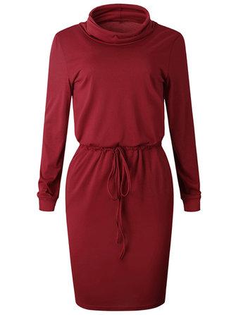 Women High Neck Belt Sweatshirt Dress