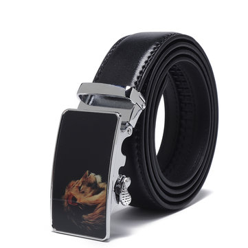 Mens Business Two-Layer Leather Alloy Automatic Buckle Belt