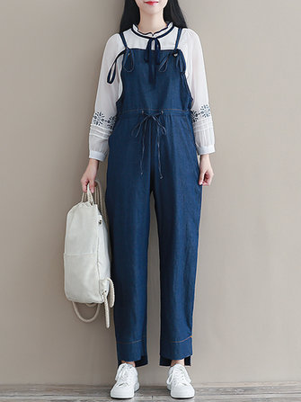 Women Sleeveless Straps High Waist Denim Jumpsuit