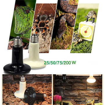 110V Black Infrared Ceramic Heat Emitter Lamp Bulb for Reptile Pet Brooder 25W/50W/75W/100W
