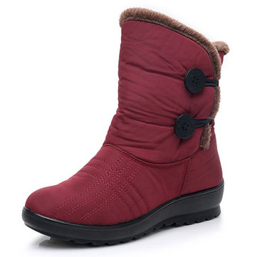 Women Casual Keep Warm Winter Buckle Mid-calf Boots