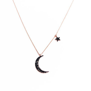Elegant Pendant Necklace Moon Star Asymmetric Chain Charm Necklace Ethnic Jewelry for Women