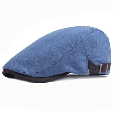 Mens Solid Denim Beret Cap Casual Visor Golf Cabbie Hat Adjustable