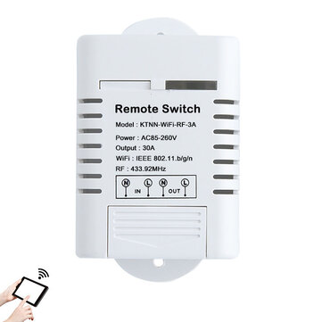KTNNKG 30A High Power WIFI Relay Switch Receiver 110V-220V Smart Home Gadgets Wireless Light Switch APP Control 433MHz