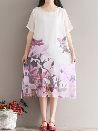 Floral Print Short Sleeve Loose O-neck Women Dresses