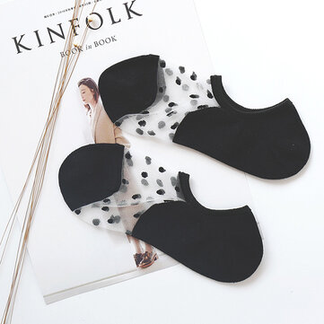 Women Invisible Crystal Lighter Chaussettes pour bateaux Summer Thin Breathable Dot Glass Silk Socks