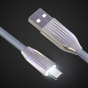 Cafele LED Light 2.1A Type C Flat Fast Charging Data Cable 1.2m For Oneplus 6 Xiaomi 8 8 se S9