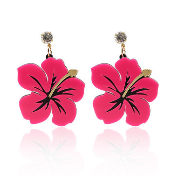 Trendy Exaggerated Style Rose Red Blue Flower Rhinestone Women Earrings