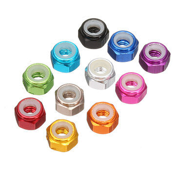Suleve™ M3AN1 10Pcs M3 Self-locking Nylon Nut Aluminum Alloy Multi-color