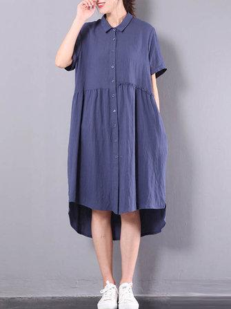 Women Short Sleeve Buttons Lapel Cotton Shirt Dress