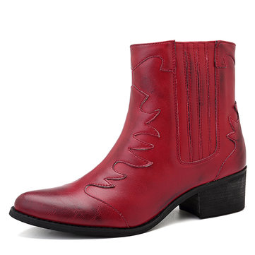 SOCOFY Pattern Pure Color Casual Zipper Ankle Boots