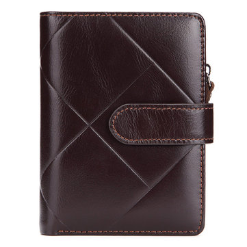Genuine Leather Business Short Coin Bag Trifold Wallet For Men