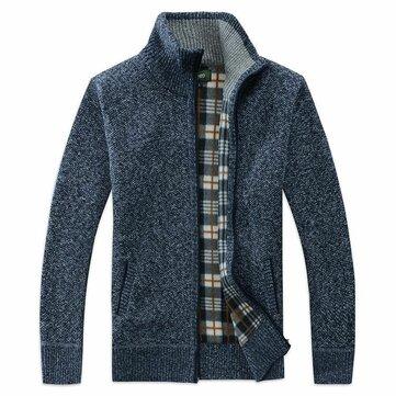 Men Fashion Zipper Plaid Lining Cardigans Stand Collar Thickening Coats