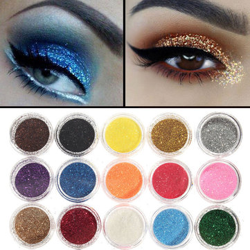 45 cores Brilho Powder Eye Shadow Pigment Shinny Shimmer Gel Unhas Art Decoration Spangle Set