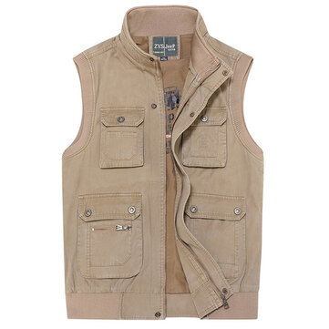 Mens Plus Size Outdooors Casual Multi Pocket Fishing Cotton Vest Stand Collar Waistcoat