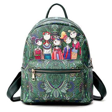 Women Bohemian Forest Series Backpack Large Capacity Print Handbags